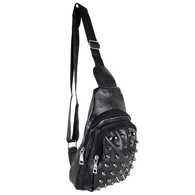 8c53b42954ea Zaino monospalla con borchie da uomo viaggio ragazzo borsa tracolla  zainetto borsello borchiato piccolo portadocumenti Nero: Amazon.it:  Abbigliamento