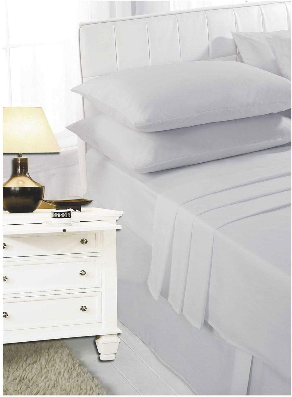 40cm Fitted Sheet Easy Care Poly Cotton Bed Sheets Single Double King Super King