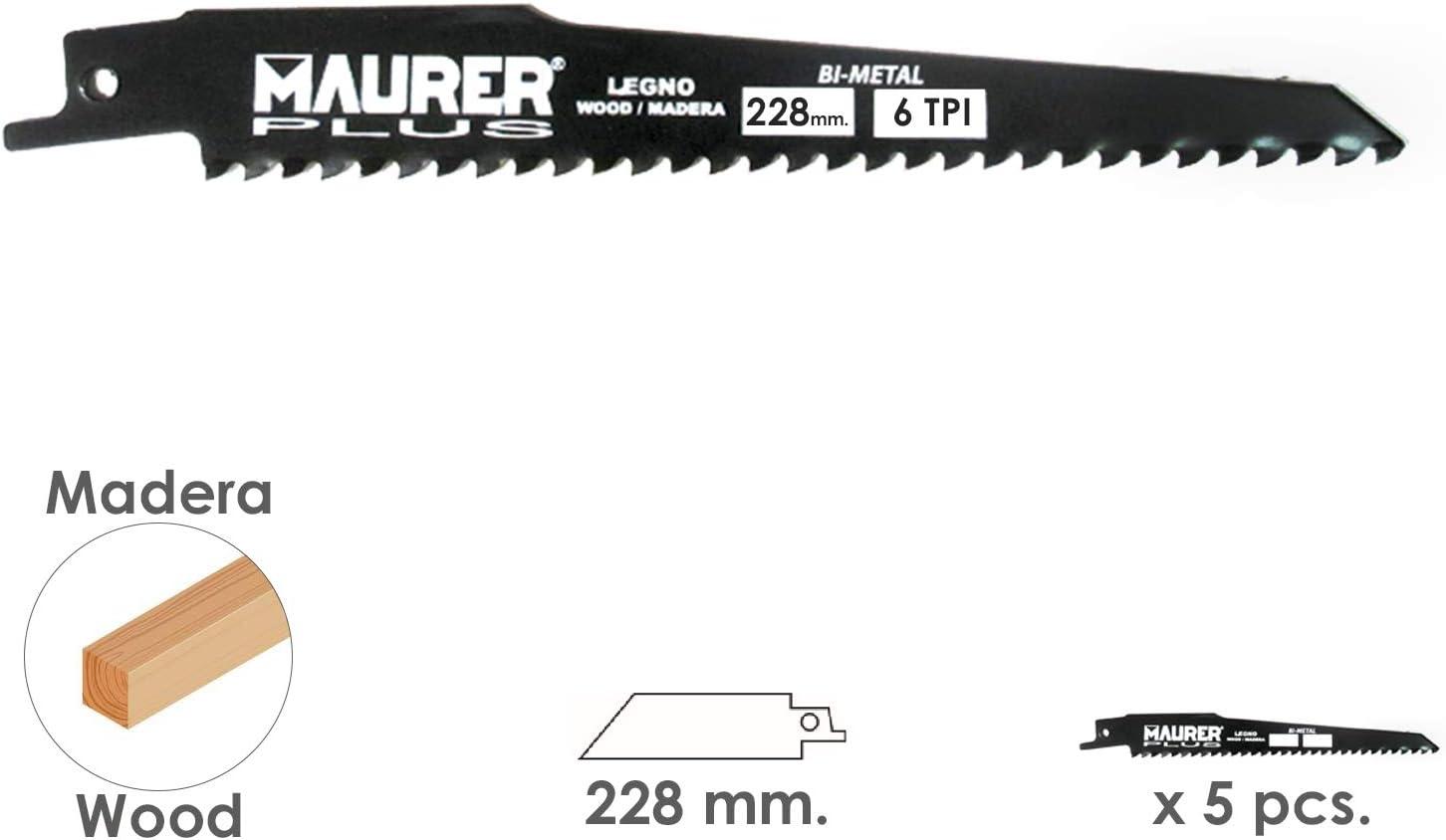 5 piezas 6 TPI Tipo Bosch MAURER 7120755 Hoja Para Sierra Sable Madera 228 mm
