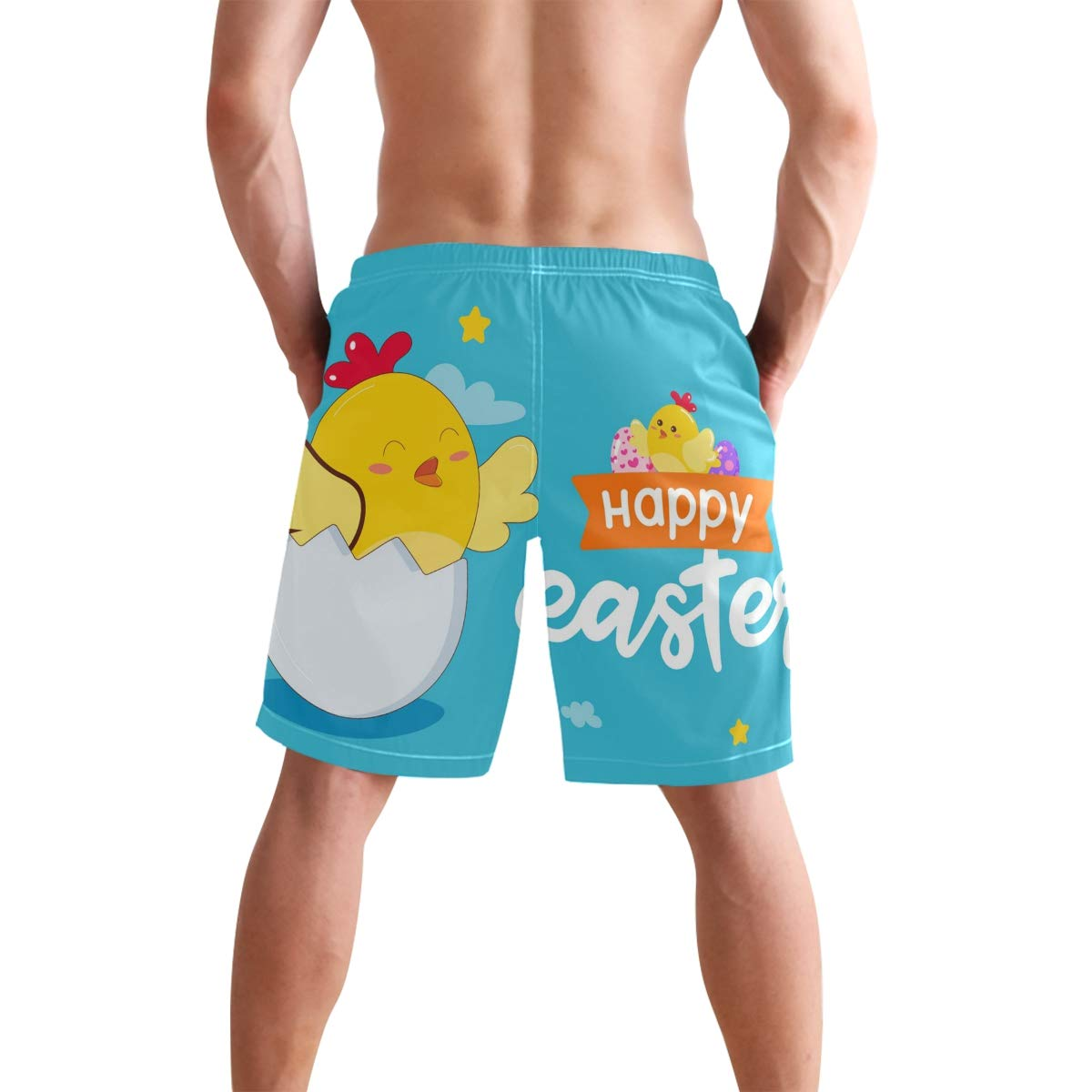 KGuanJi Happy Easter Chick Blue Swim Trunks Quick Dry Casual Polyester Shorts