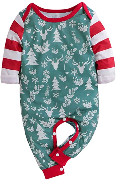 Cotton Baby Onesies Cartoon Christmas Tree Long Sleeve Newborn Boys Girls Jumpsuit