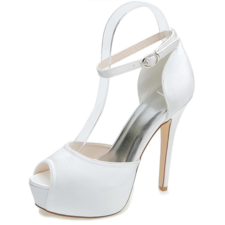 Elobaby Zapatos de Boda de Las Mujeres 3128-08 Satén y Encaje Peep Toe de Tacón Alto Verano Nupcial/Boda Zapatos Personalizados 36 EU|White