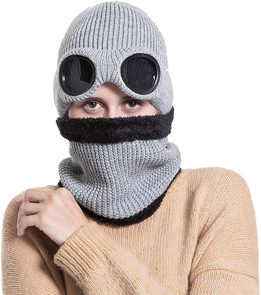 AZXAZ Nackenw/ärmer Winter Hut Mit Brille Warme Strickm/ütze Ohrensch/ützer Pl/üsch Damen Herren Schal Beanie Hut F/ür Outdoor Radfahren Wandern Sport