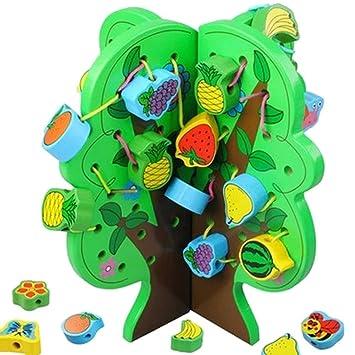 Highdas Juguetes Cordón de madera para niños, animales fruta ...