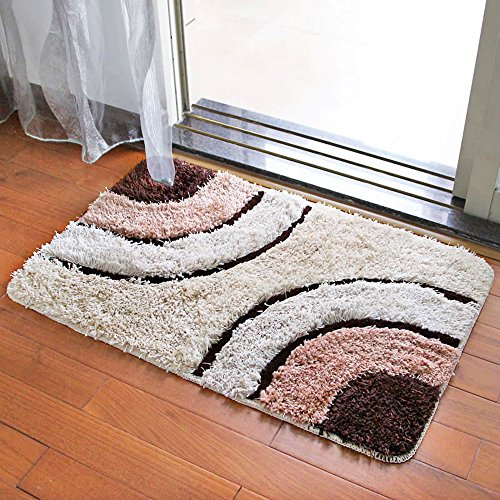 TideTex Simple Stripe Splice Bedroom Area Rug Small Livingroom Carpet Soft Plush Footmat Non-slip Bathroom/Kitchen Mats Door Pad (1'9x2'9, Coffee)