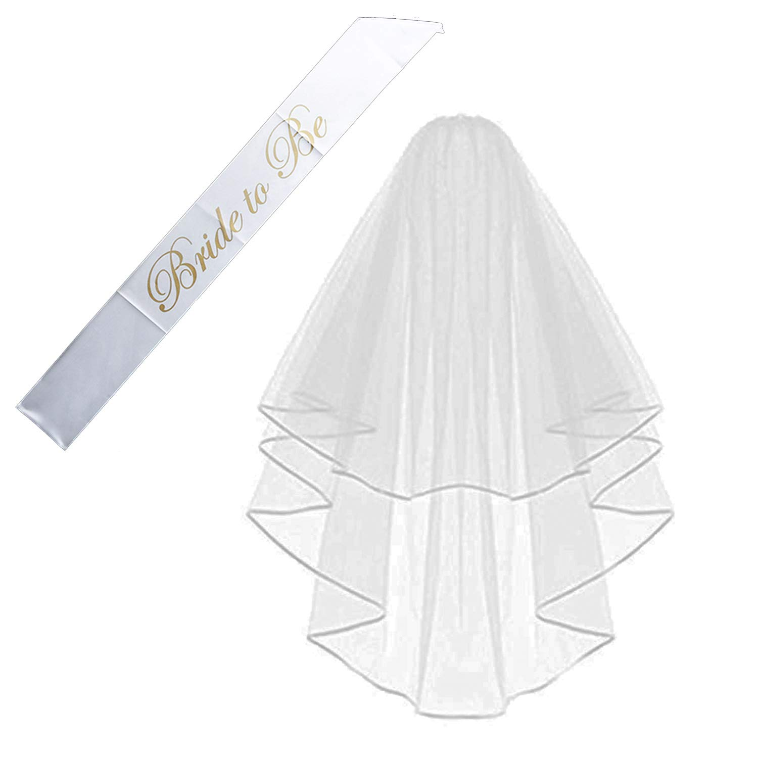 qnprt Bride to be Decoration Set for Bachelorette Party Supply (One Size, Veil+Sash)