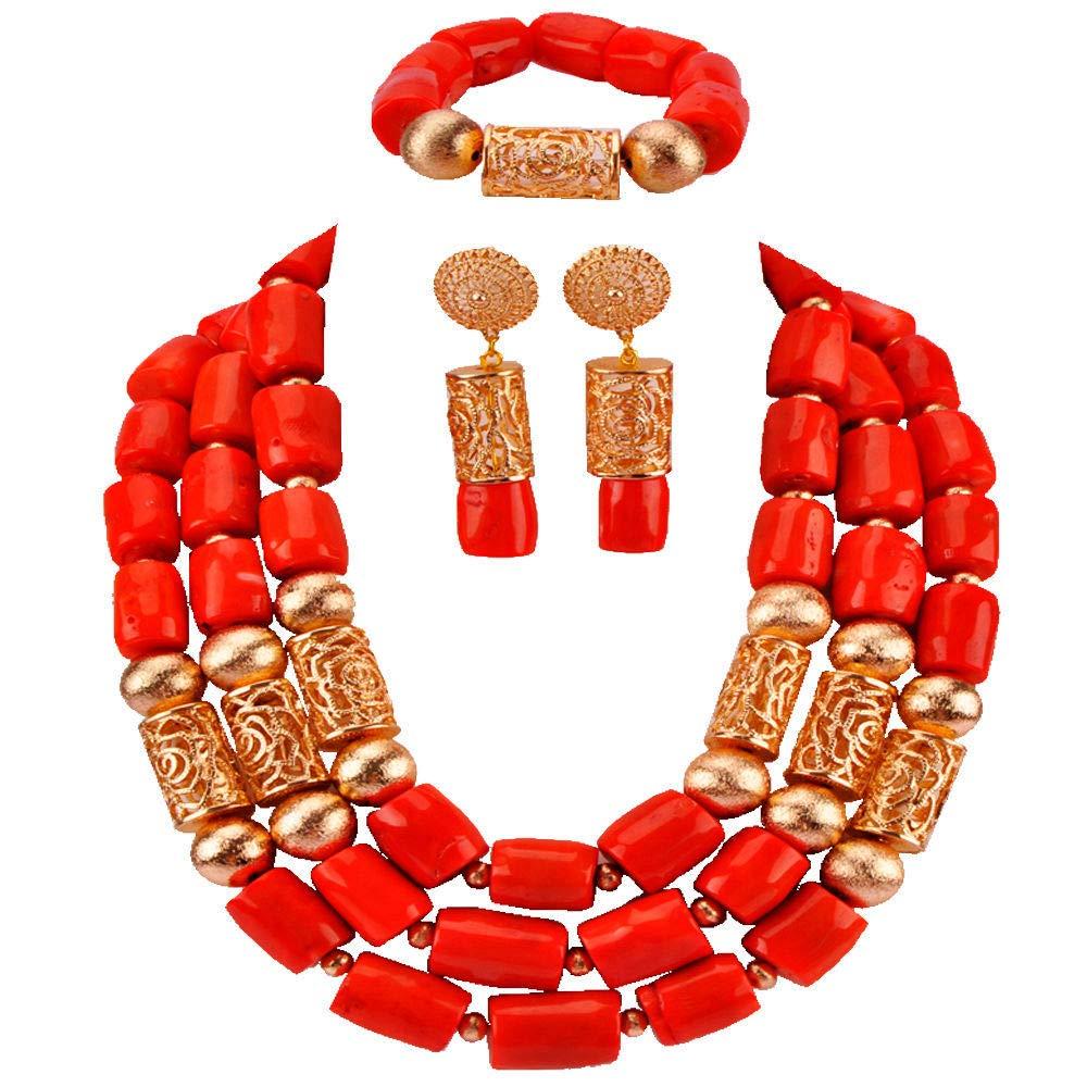 laanc Handmade Folk Fashion High Grade Orange Coral Beads JewelrySets Necklace Bracelet Earrings African Nigerian Wedding