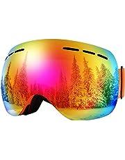 BFULL Men and Women OTG Ski Goggles, Anti-fog, Anti-glare,100% UV400 UV Protection Lens Sunglasses, Suitable for Skiing Snowboarding Downhill Skis,Two Style of Lens Sunglasses