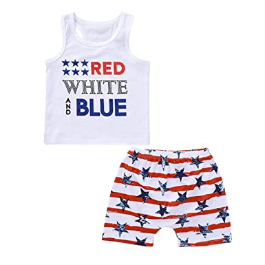 80 Fourth of July Baby Boys Outfits American Flag Sleeveless Tank Tops Stripes US Flag Shorts Pant Outfit Sets for Boys