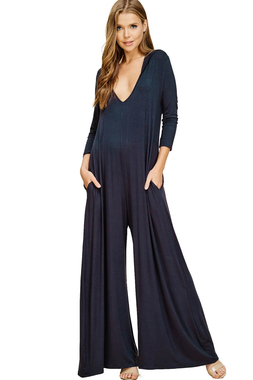 Annabelle Women's Wide Leg Jumpsuit with 3/4 Sleeves and Round Neck Slate XX-Large J8067P