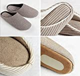 YunNasi Unisex Soft Cotton Washable Anti-slip Stripe Indoor Slippers (Deep Black Wide Stripes, X-Large)