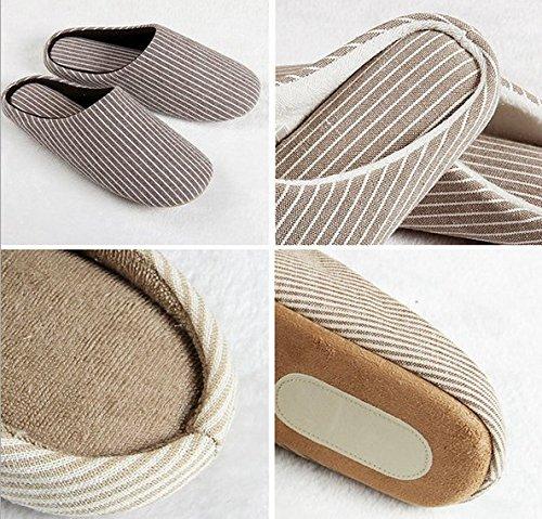 YunNasi Unisex Soft Cotton Washable Anti-slip Stripe Indoor Slippers (Deep Black Wide Stripes, X-Large) by YunNasi