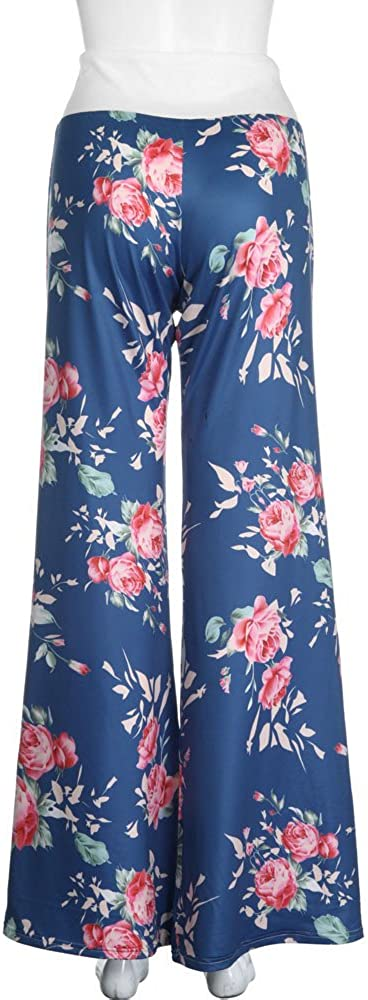 Hosamtel Womens Casual Pants Comfy Pajama Pants Floral Print Drawstring Palazzo Lounge Pants Wide Leg Yoga Pants