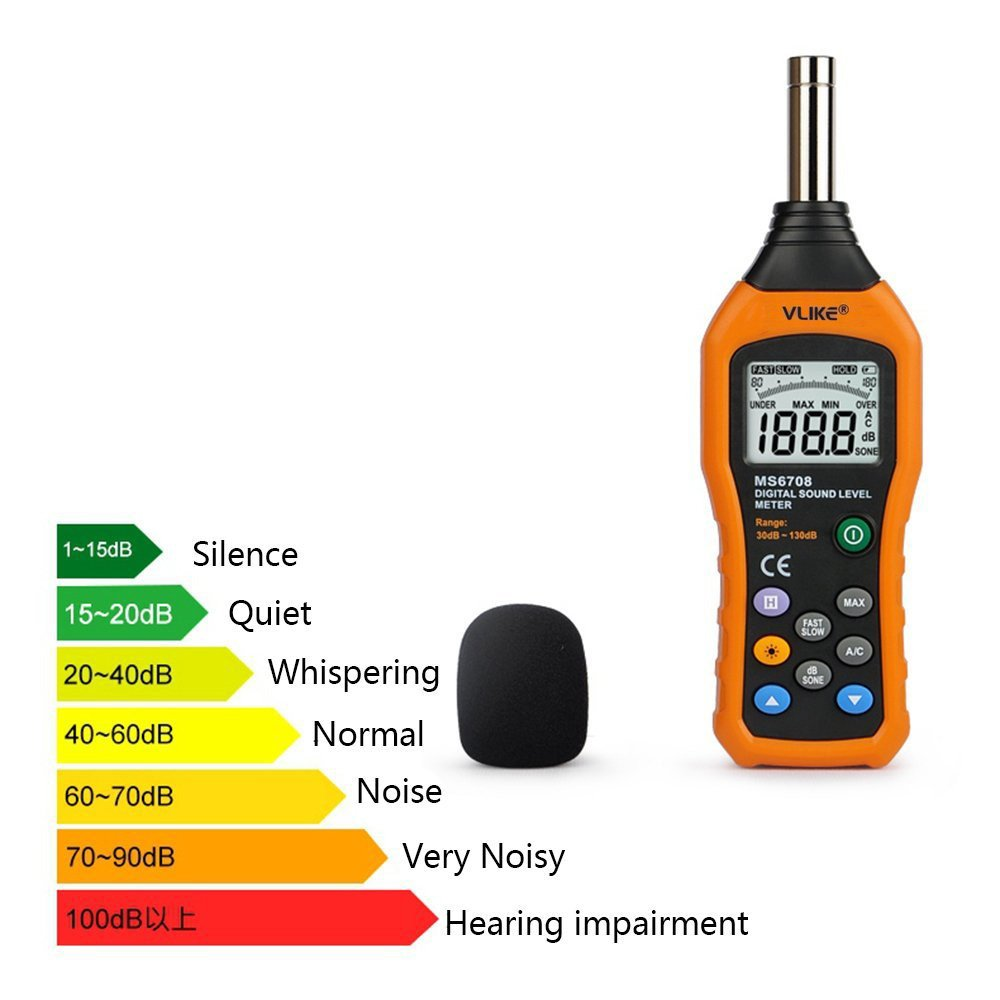 VLIKE LCD Digital Audio Decibel Meter Sound Level Noise Monitor DB Measurement Measuring 30 To 130 MAX Data Hold