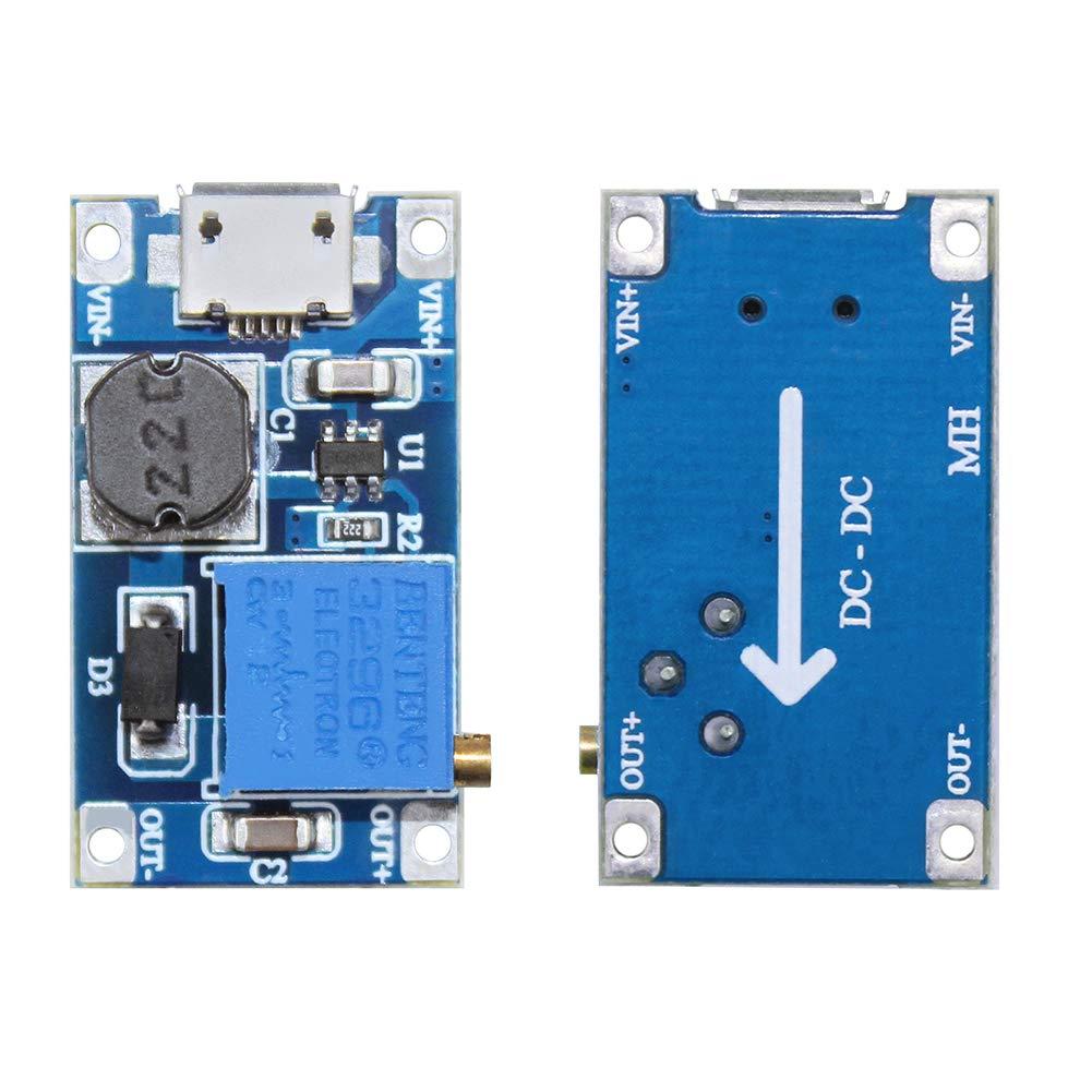 KeeYees 6 St/ücke Einstellbar DC-DC Step Up Konverter 2V-24V bis 5V-28V Netzteil Adapter Boost 5V 9V 12V 24V mit Micro USB f/ür Arduino