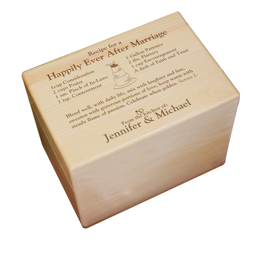 GiftsForYouNow Engraved Happily Ever After Personalized Recipe Box, Maple Wood