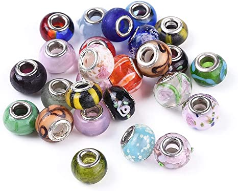 Handcrafted Rustic Beads Centerpiece Glass Beads 9 Large Silver Foil Glass Beads X371 Supply
