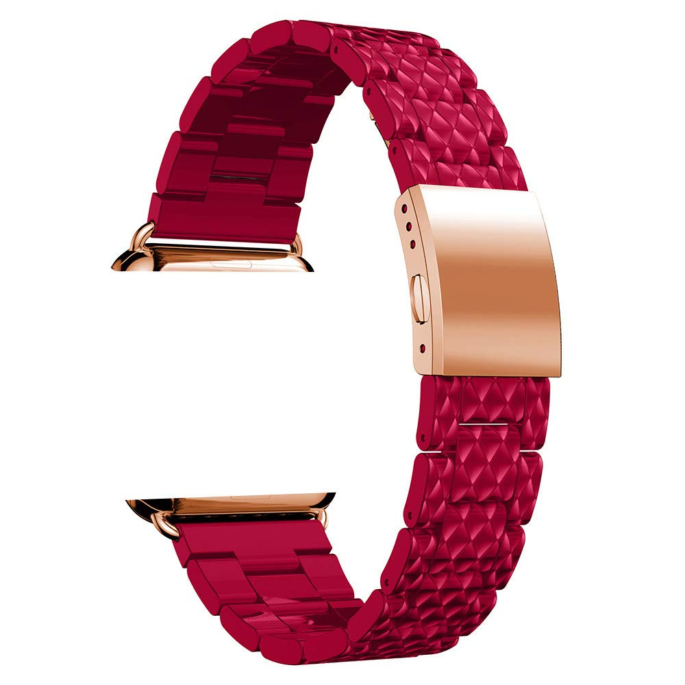 Tiean iWatch Band 38mm 42 mm Women, Stainless Steel+Acetate Replacement Luxury Business Band Strong Metal Clasp Compatible with Apple Watch Series1/2/3 38mm/42mm (red, Apple Watch Series1/2/3 38mm)
