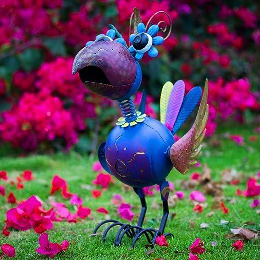 Aomerrt Hierro Forjado Animal pájaro Azul Grande estatuas de jardín decoración de jardín al Aire Libre decoración de jardín Animales jardín Escultura Adornos: Amazon.es: Hogar