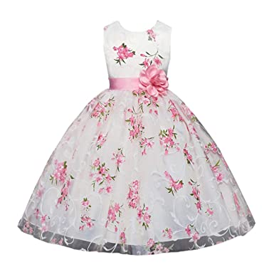 b75510cd1c3 Folwer Girl Dress for Wedding Party Princess Pink White Pageant Elegance  Tull Dress Size 2 3