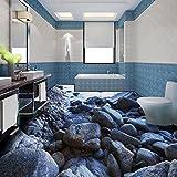 wapel personalizado playa piedra piedra 3d estéreo piso de baño mural cuadrado Centro Comercial autoadhesivo piso papel pintado, 430cmX300cm