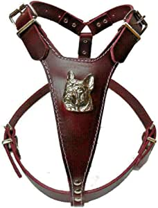 Leather Dog Harness Arnés de Piel para Perro, diseño de Cabeza de ...