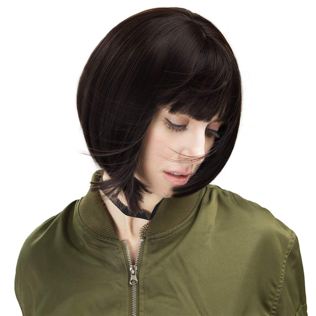 Short Bob Wig with Bangs Synthetic Hair for White Black Women (Black Brown)
