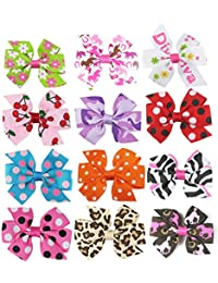 "Baby Girl Hair Clips-Hipgirl 12pc 3"" Pinwheel Bow No Slip Grip Metal Barrette"