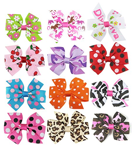 [HipGirl Boutique Girls Small Pinwheel Hair Bows-12pc 3