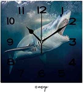 SUPFENG 8 inch Square Clock A Mako Shark with Mouth Open Showing Teeth Unique Wall Clock-for Living Room, Bedroom or Kitchen Use