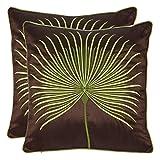 Safavieh Pillows Collection Leste Verte Throw Pillows (Set of 2), 22'' x 22'', Green