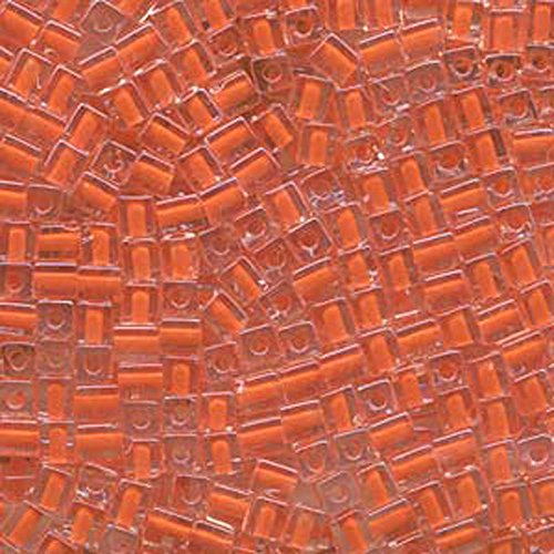 20Gr Clear Orange Lined Miyuki 4mm Square Cube Glass Seed Beads