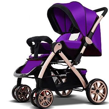 Zhangcaiyun Carrito de Bebe Cool portátil bebé al Aire Libre Cochecito bebé Cuna Plegable fácil de Llevar Recién Nacido y niño pequeño (Color : Púrpura): ...