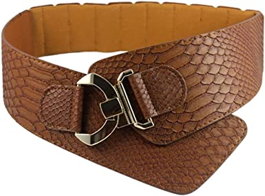 Womens Fashion Vintage Wide Elastic Stretch Adjustable Waist Belt Snake Pattern