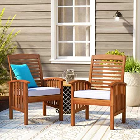 Wooden Outdoor Armchairs Set of 2 Brown Garden Chairs Patio Furniture Seat