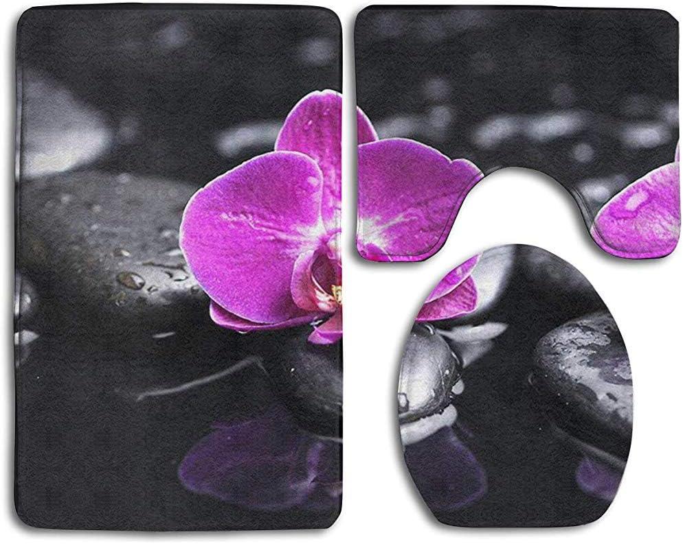 tappeti da Bagno Antiscivolo con Stampa Orchidea su Pietra Nera Tappetino Contorno BOBO-Shop Set tappetini Bagno 3 Pezzi coprisedile WC