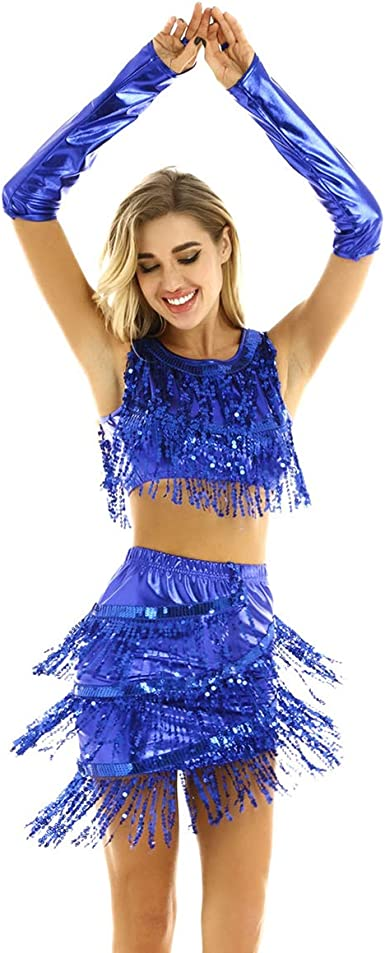 iiniim Vestido Danza Mujer Lentejuelas Ropa de Baile Latino Salsa Tango Top de Danza Falda Lentejuelas Flecos Disfraz de Danza Fiesta Azul One Size: Amazon.es: Ropa y accesorios