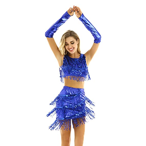 iiniim Vestido Danza Mujer Lentejuelas Ropa de Baile Latino Salsa ...