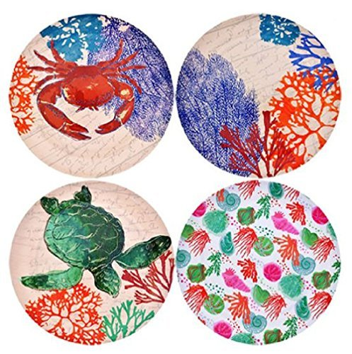 Sea Life Melamine Plates, Turtle, Crab, Coral, Ocean, Seashells, 4-ct Set
