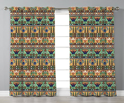 Thermal Insulated Blackout Grommet Window Curtains,Egyptian,Ethnic Motifs Pattern with Lily Flower and Scarab Figures Abstract Artistic Design,Multicolor,2 Panel Set Window Drapes,for Living Room Bedr (Motif Egyptian)