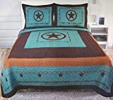 Western Peak 3 Piece Western Texas Lone Star Cabin Lodge Barb Wire Luxury Quilt Bedspread Coverlet Comforter Turquoise Brown Set (Queen)