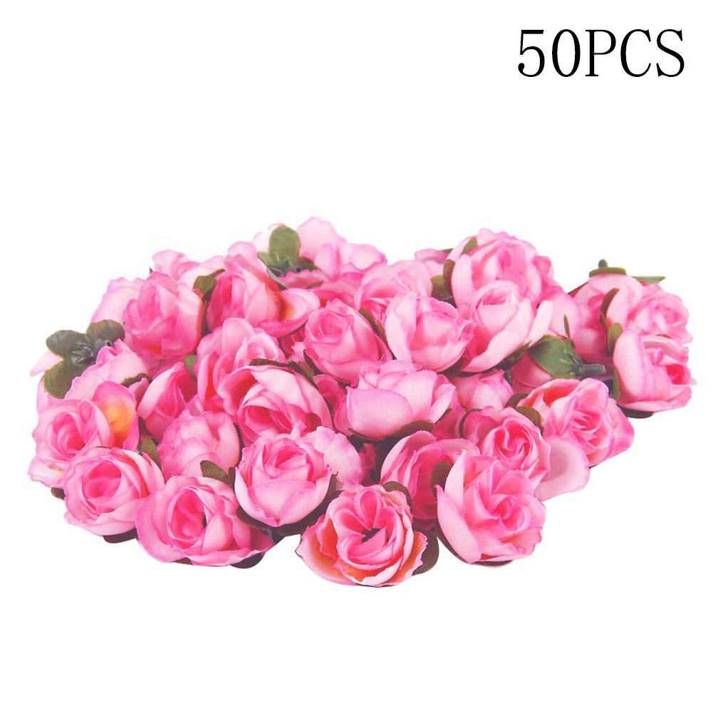 BleuMoo 50pcs Rose Red Artificial Silk Roses Flowers Head Wedding Party Decor