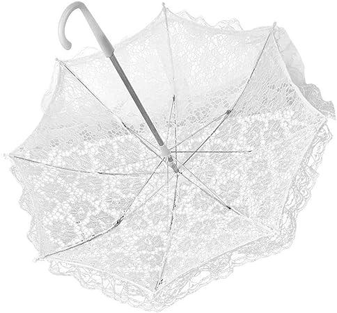 poetryer Ombrelle en Dentelle Dentelle Parapluies Fait Main De mari/ée Mariage D/écoration Parapluie de mari/ée Blanc
