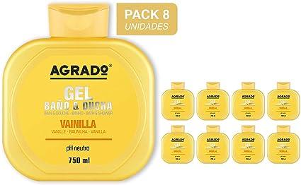 Gel Baño y Ducha Vainilla Agrado 750 ml - Pack de 8 unidades: Amazon.es: Belleza