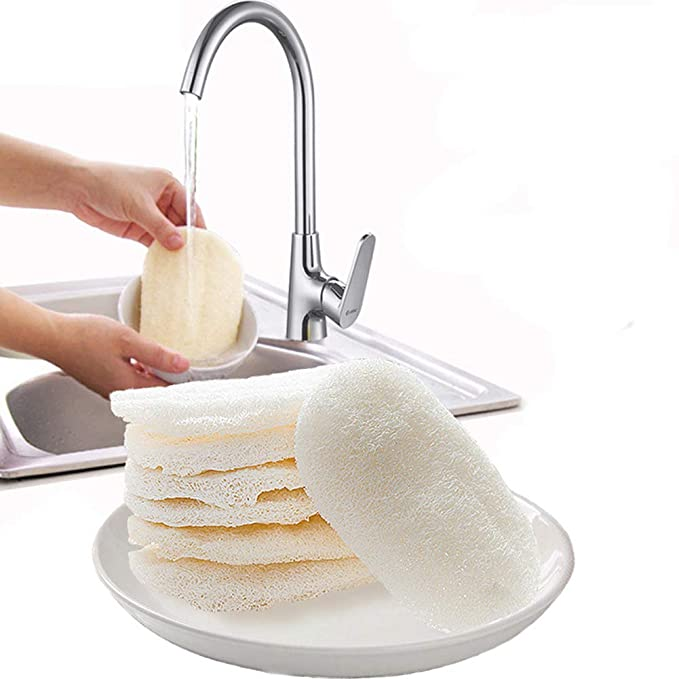 Natural Eco-friendly Kitchen Loofah Sponge Dish Scouring Pad Cleaning E8E4