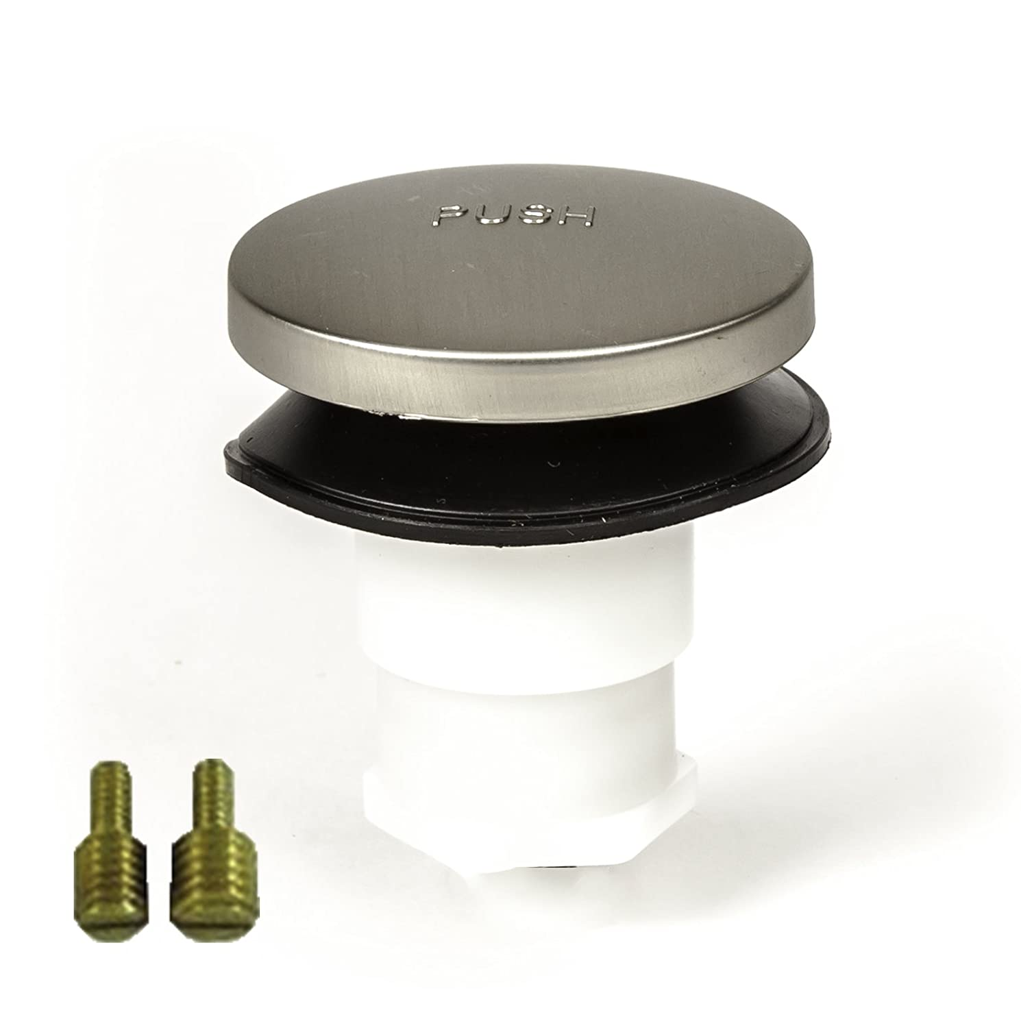 """PF WaterWorks PF0935-BN Universal Touch (Tip Toe or Foot Actuated) Bathtub/Bath Tub Drain Stopper Includes 3/8"""" and 5/16"""" Fittings, No No Hair Catcher, Brushed Nickel"""