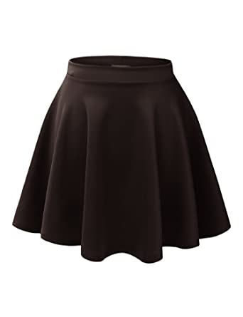 f23fc7a031 MBJ WB211 Womens Basic Versatile Stretchy Flared Skater Skirt XS Brown