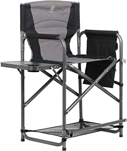 EVER ADVANCED Medium Tall Directors Chair Bar Height Foldable Makeup Artist Chair with Side Table Cup Holder Side Storage Bag Footrest, Supports 300LBS