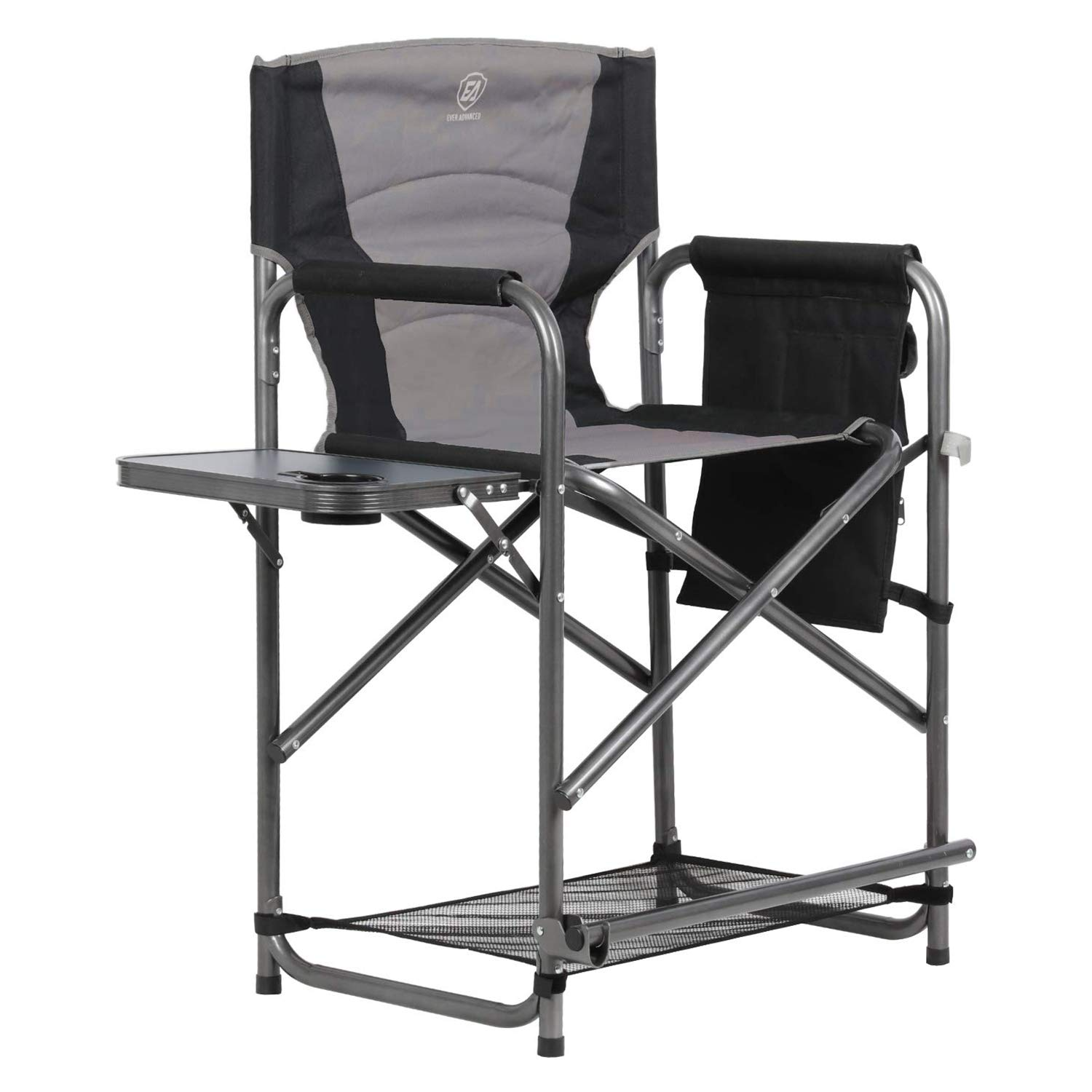 EVER ADVANCED Tall Directors Chair Bar Height Foldable Makeup Artist Chair with Side Table Cup Holder Side Storage Bag Footrest, Supports 300LBS by EVER ADVANCED