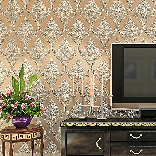 Blooming Wall Textured Damasks Wallpaper Wall Paper Wall Mural for Livingroom Bedroom Kitchen, 20.8 In32.8 Ft=57 Sq Ft/Roll (Champagne Yellow)